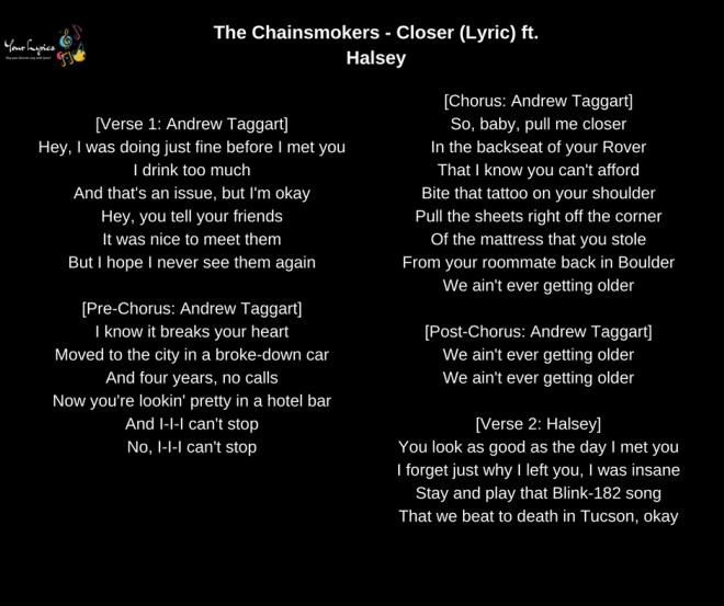 The Chainsmokers Closer Lyric Ft Halsey Your Lyrics