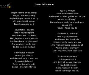 Ed sheeran dive lyrics your lyrics - Dive lyrics ed sheeran ...