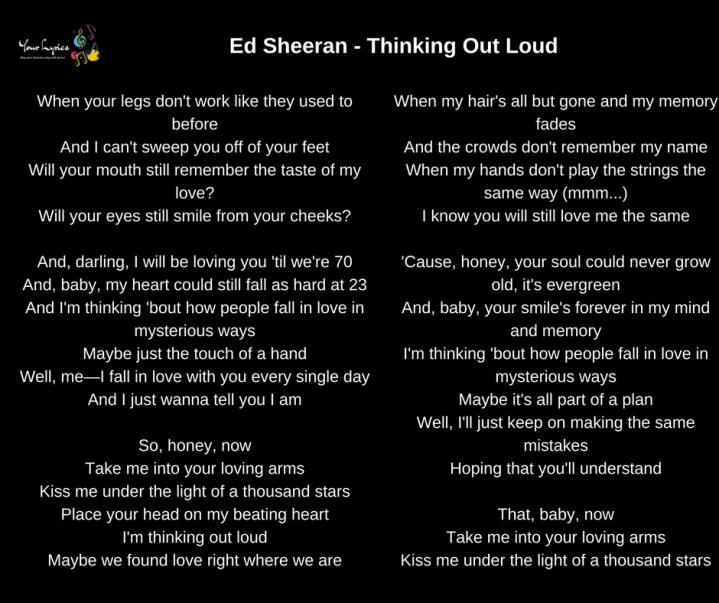 Ed Sheeran – Thinking Out Loud Lyrics – Your Lyrics