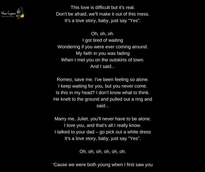 Taylor Swift Love Story Lyrics Your Lyrics