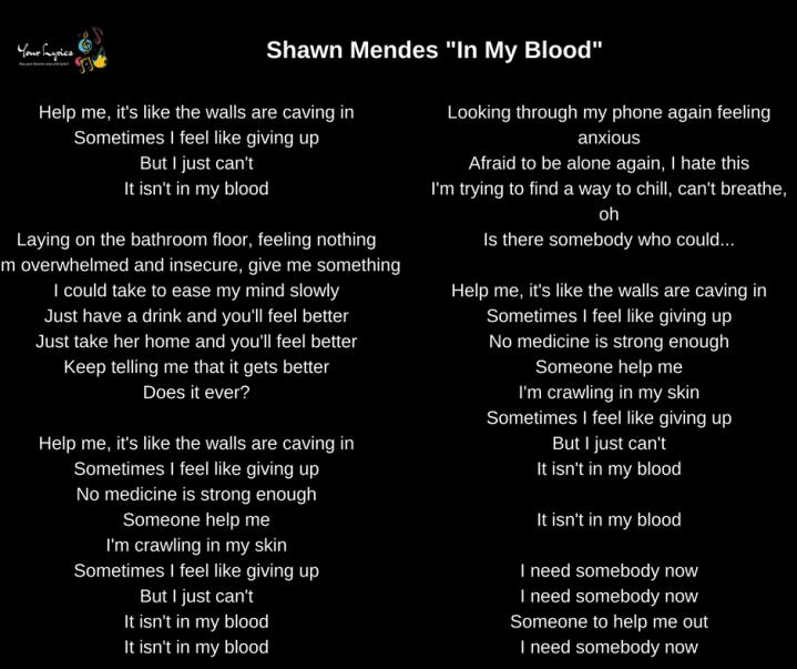 "Shawn Mendes – ""In My Blood"" Lyrics – Your Lyrics"