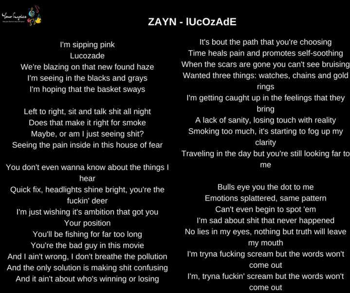 ZAYN – lUcOzAdE Lyrics – Your Lyrics