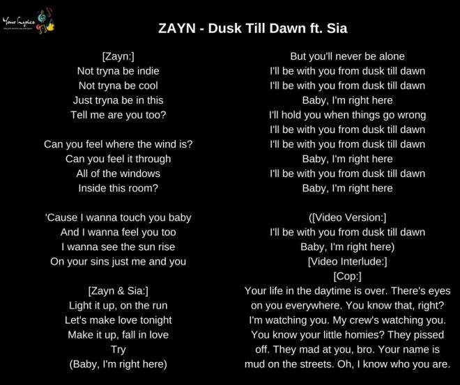 Zayn  U2013 Dusk Till Dawn Ft  Sia Lyrics  U2013 Your Lyrics