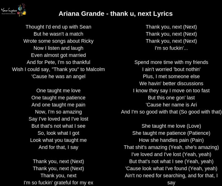 Thank U Next Descargar Gratis: Your Lyrics